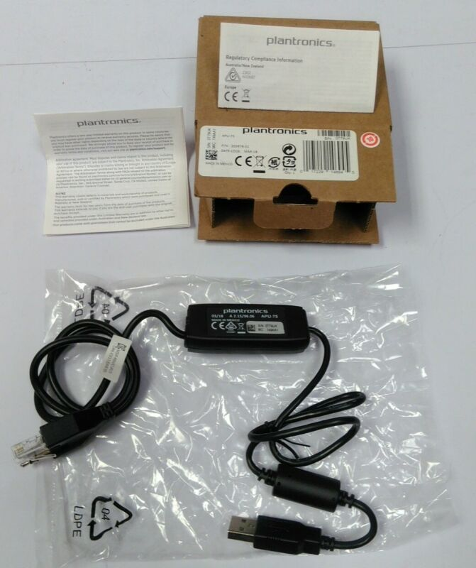 Plantronics APU-75 EHS Hook Switch UC Headset Adapter Cable for CS500/ XD Series