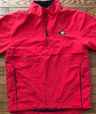 (UGA University Of Georgia Bulldogs Black Red Small 1/4 Zip WindTec Jacket)