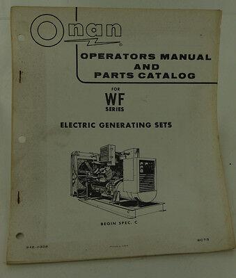 Vintage Onan Wf Series Electric Generator Operators Manual Parts Catalog