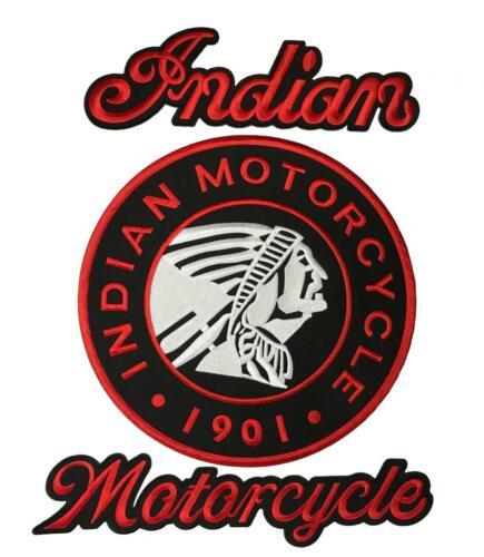 IRON ON SEW ON Indian Motorcycle JACKET VEST BACK PATCH (3PC FULL SET)