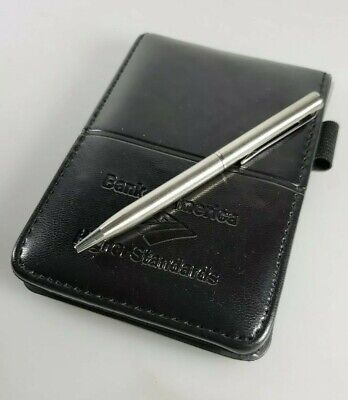 Bank Of America Logo Soft Faux Leather Writing Notepad Pen - Black New W Box