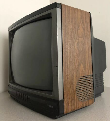 "Vintage 1993 Magnavox color Tv Television Wood grain Retro Tested 13"""