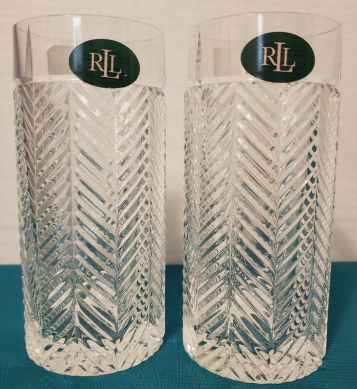 Ralph Lauren Crystal HERRINGBONE Highball Tumbler Glasses Set of 2 ~ New