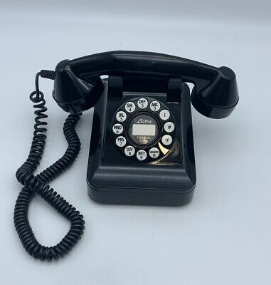 Black 50s Classic Phone Push Button Telephone Retro vintage style Tested