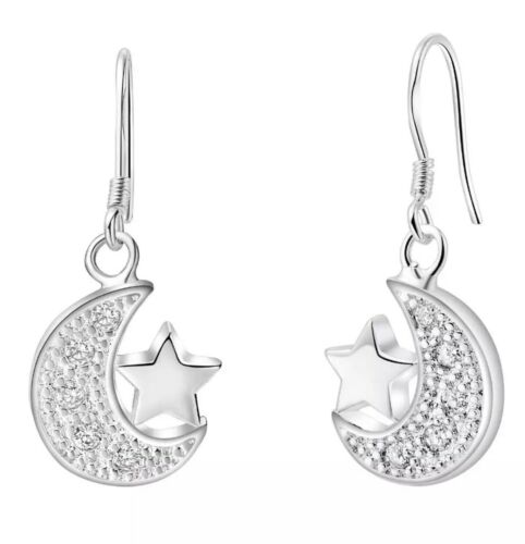 925 Sterling Silver Cubic CZ Crescent Moon And Star Earrings Necklace 18″ N16-1 Earrings