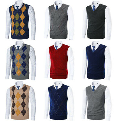 Golf Mens Sweater (Mens Argyle Sweater Vest Golf Knitted Tank Top V-Neck  Sleeveless)