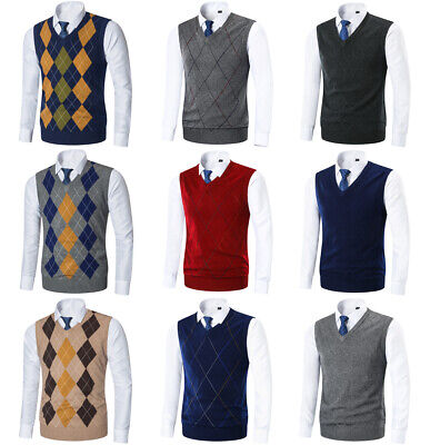 Argyle Golf Vest - Mens Argyle Sweater Vest Golf Knitted Tank Top V-Neck  Sleeveless Pullover