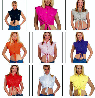 (Daisy Duke Motorcycle Denim Sleeveless Cropped Tied Midriff Button Front Top)