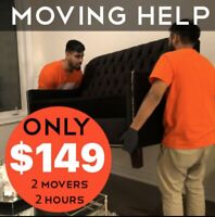 $149 - 2 Person 2 Hour Moving Help - Same Day Service!