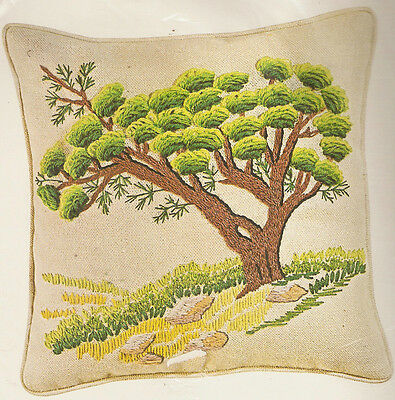 Vintage Bucilla ming Tree Oriental Crewel Embroidery Pillow Kit