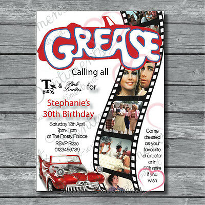 Personalised Grease Retro 50's 80's Birthday Invitations • DIGITAL FILE ONLY - 80s Birthday Invitations