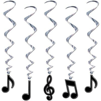 Music Note Whirls Black Silver Swirls Hanging Ceiling Party Decorations 5 Pc - Music Note Decorations