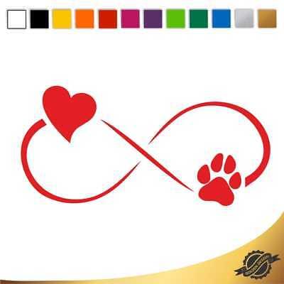Aufkleber Sticker Autoaufkleber Unendlichkeitszeichen Herz Hund 12 x 5,8 (Hund Zeichen)