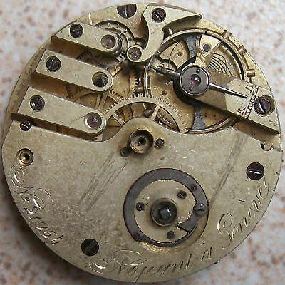 Nojeant old Pocket watch movement key wind 43 mm. in diameter balance broken