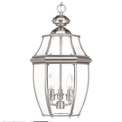 Haven 3 Light - Progress Lighting New Haven 3-Light Outdoor Brushed Nickel Hanging Lantern