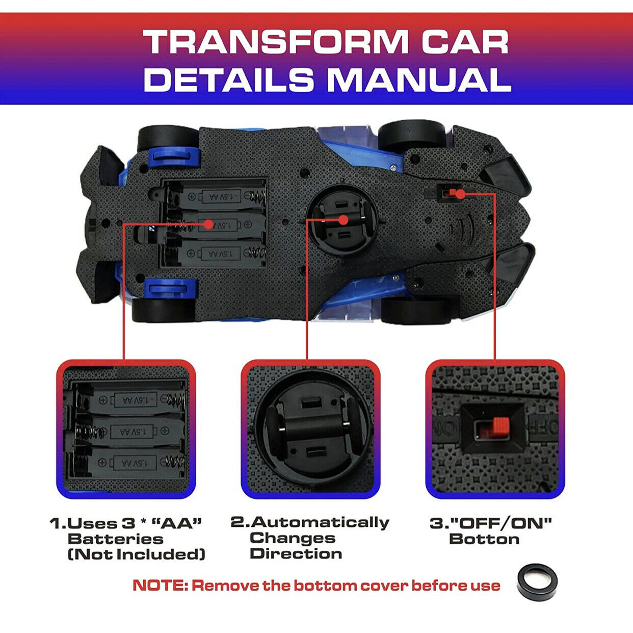 Police Vehicle Aircraft Toy With Automatic Transformation, 360 Degree Rotation - $12.00