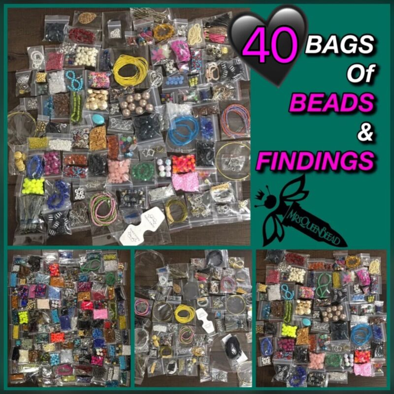 40 Bags Lot Of Jewelry Making Supplies FINDINGS BEADS Pendants Wire Closures👑🐝