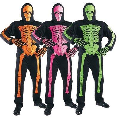 ANT 33446 Karneval Halloween Kinder Kostüm Skelett Neon 140 158 Bones Gerippe  ()
