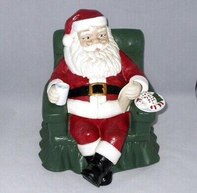 Vintage Cookie Jar Santa In Chair Reading List, Eating Cookie Alberta Mold