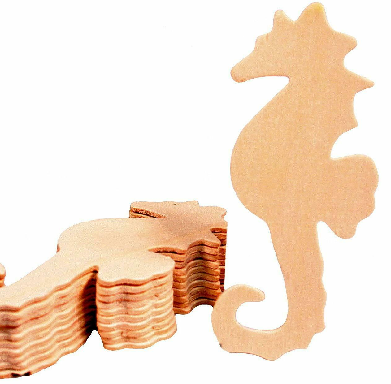 Creative Hobbies 5 Inch Seahorse Cutout Shapes, Unfinished Wood, Pack of 12 Crafting Pieces