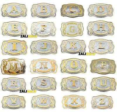 Initial Letters Western Style Cowboy Rodeo Gold Large Belt Buckles (From A to Z)