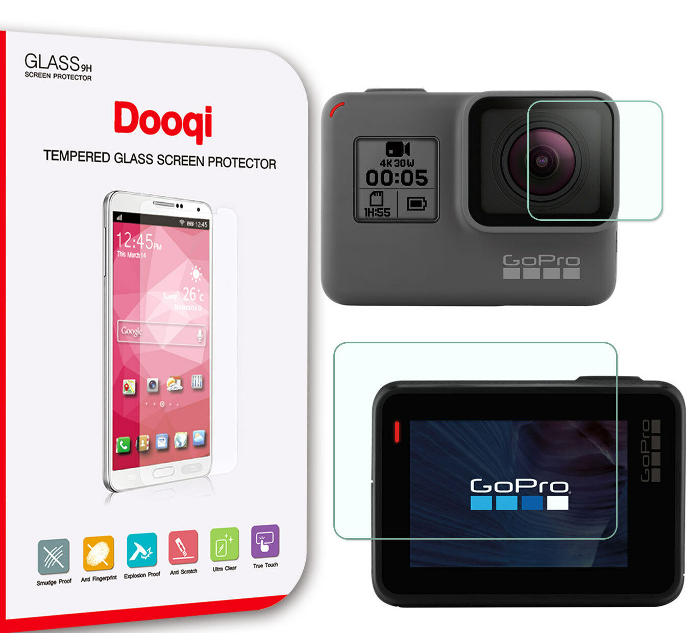 Dooqi Tempered Glass Screen Protector for GoPro Hero 5 Scree