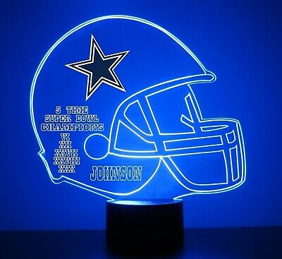 Dallas Cowboys NFL Football Light Up Light Lamp LED With Remote Personalize Free](Light Up Footballs)