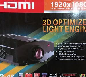 """HDMI 4K LCD Projector 50"""" - 200"""" Screen Size Like NEW"""