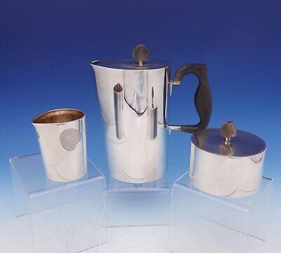 Hermann Danish Sterling Silver Coffee Set 3 Piece Coffee Sugar Creamer (#3136)