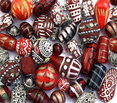 150g Red Jewellery Making beads Mix Glass Wood Tibetan