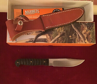 """MARBLES Gladstone USA """" Special Hunting Knife""""Carved Horn Heavy Thick Tang MIB"""