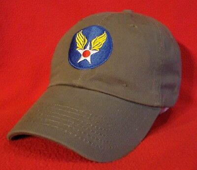 Wwii Ball Cap - WWII era U.S. Army Air Forces emblem Aviator BALL CAP, OD Green low-profile hat