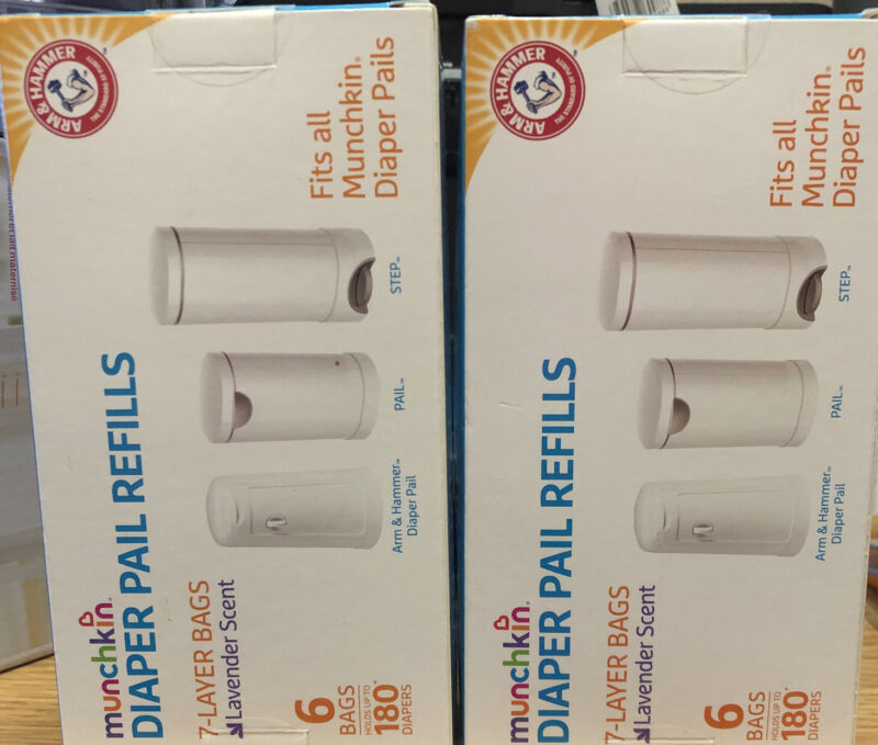 Munchkin Arm & Hammer Diaper Pail Refill 7-Layer Bags, 12 Count Lavender Scent