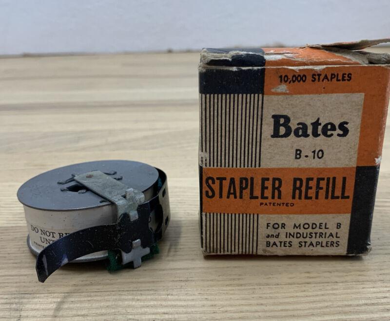 Vintage Bates B-10 Stapler Brass Staple Wire Refill New Old Stock in Box