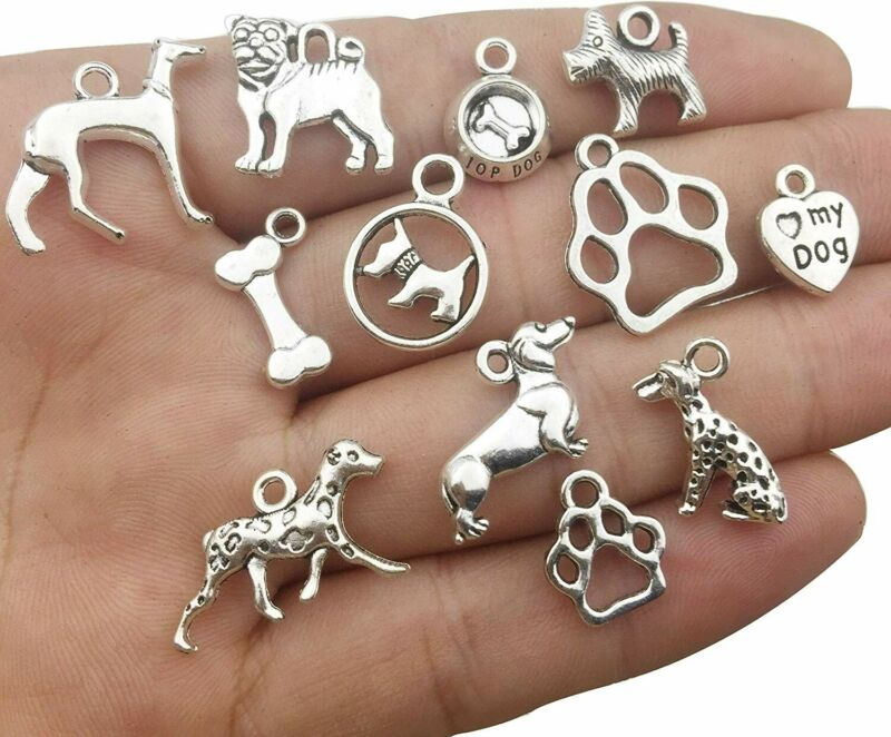 10 Dog Charms Puppy Pendants Assorted Charms Lot Paw Print Antiqued Silver Mix