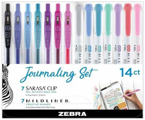 Zebra Mildliner & Sarasa Retractable Gel Pen Journaling Set, Assorted 14Pk 122