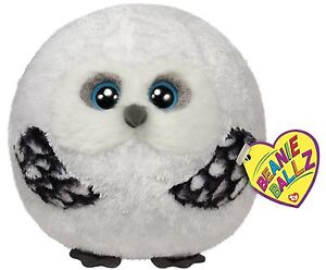 Ty Hoots the Snowy White Barn Owl Animal Beanie Ballz Balls Stuffed Plush Toy