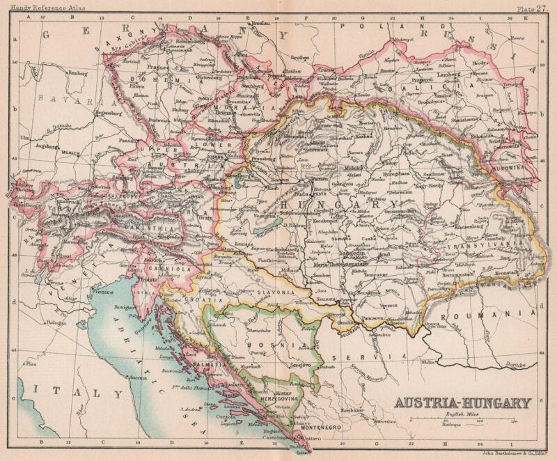 Austria-Hungary. Dalmatia Galicia Bohemia. BARTHOLOMEW 1893 old antique map