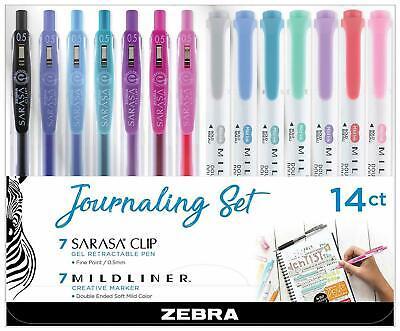 Zebra Mildliner Sarasa Retractable Gel Pen Journaling Set Assorted 14pk