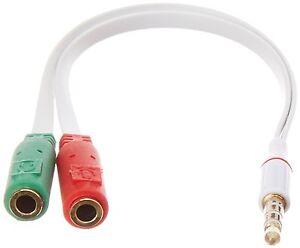 3.5mm Audio Jack to Headphone Microphone Splitter Converter Adaptor Mobile Tab