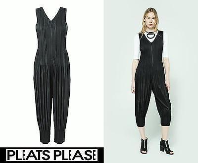 17SS PLEATS PLEASE ISSEY MIYAKE FLUFFY BASICS Jumpsuit V-neck Zipper Black Size4