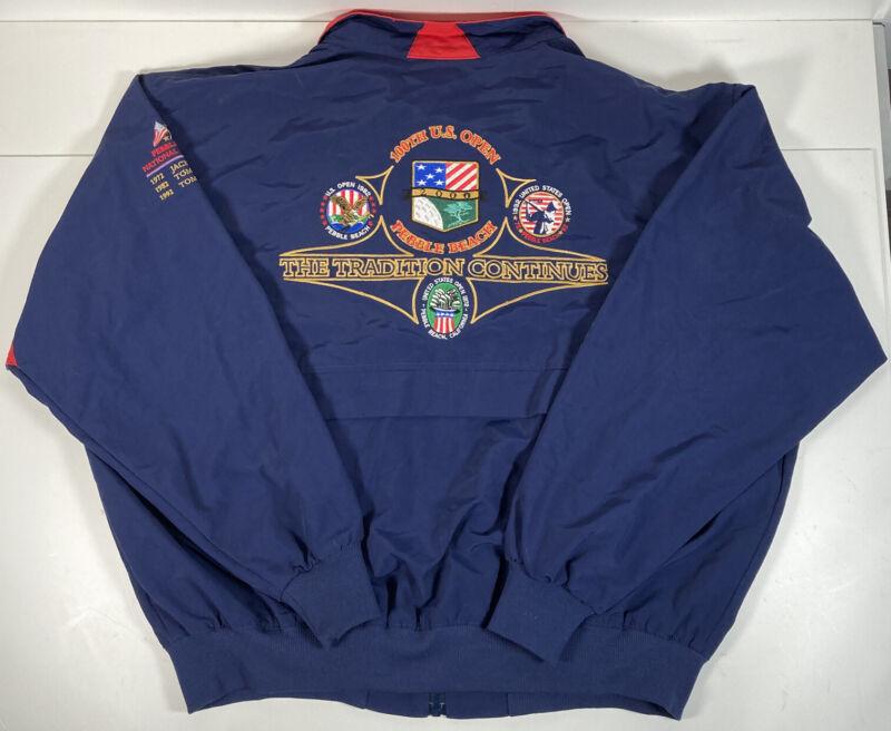 VTG 2000 US Open Golf Windbreaker Jacket Pebble Beach Red White Blue Sz XL