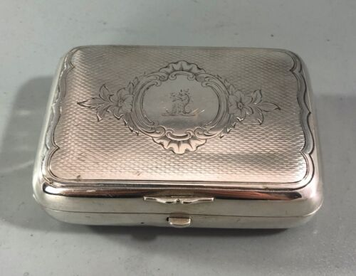Antique Crested Russian Silver Soap Box Moscow 112g HZX