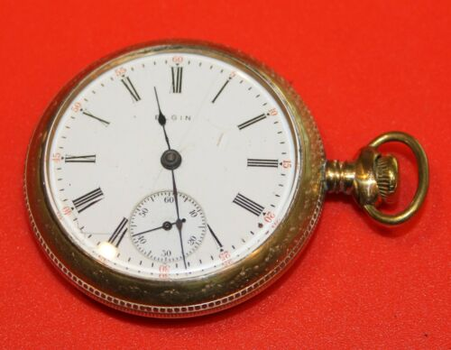 NICE 18s 7j 1910 ELGIN MODEL 4 GRADE 309 GF OPEN FACE POCKET WATCH  - WORKING