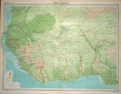 1920 LARGE MAP ~ WEST AFRICA ~ 23