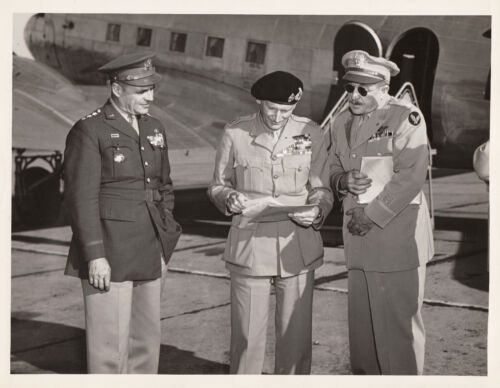 GENERAL BERNARD MONTGOMERY WITH AMERICAN MILITARY OFFICERS ~ (2 PHOTOS)-c.-1942