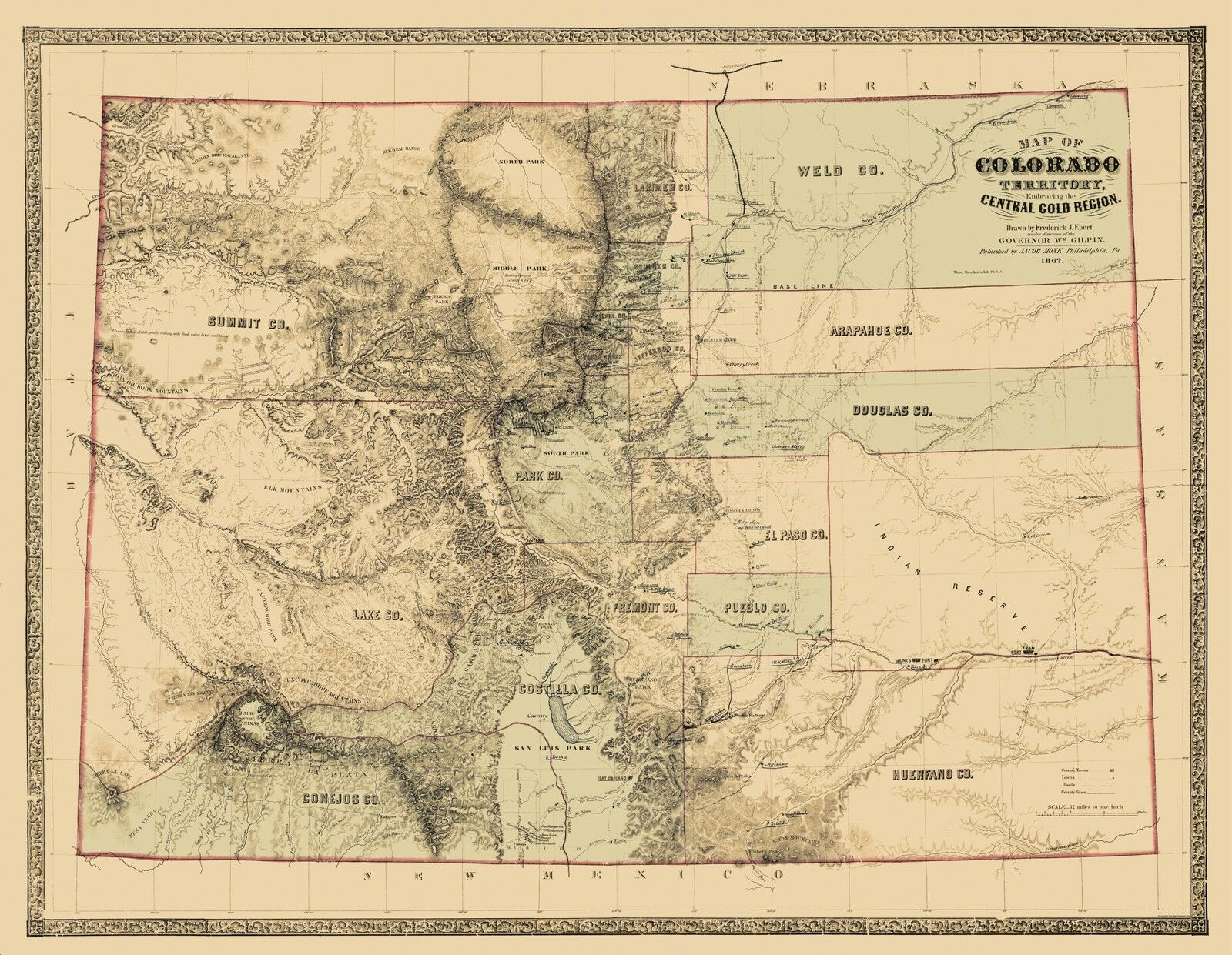 Old State Map  Colorado Territory Gold Region  1862