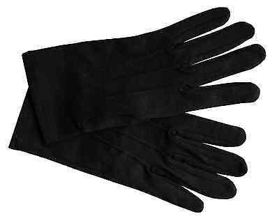 Men's Black Formal Dress Gloves Tuxedo Band Parade Stretch Nylon FREE - Dress Gloves