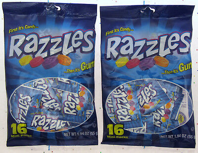 Razzles ~ First its Candy Then It's Gum ~ 16 Mini Packs ~ 1.94oz bag ~ Lot of 2