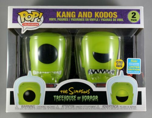 THE SIMPSONS KANG & KODOS 2-PACK CONVENTION EXCLUSIVE FUNKO POP GITD FIGURE